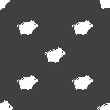 dolar: Piggy signo icono de banco. patrón transparente sobre un fondo gris. ilustración vectorial