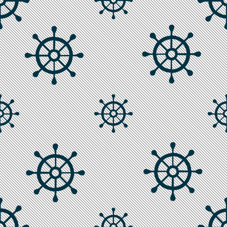 piloting: ship helm icon sign. Seamless pattern with geometric texture. Vector illustration Illustration