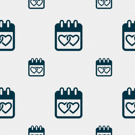 february 14: Calendar, heart, Valentines day, February 14, Love icon sign. Seamless pattern with geometric texture. Vector illustration