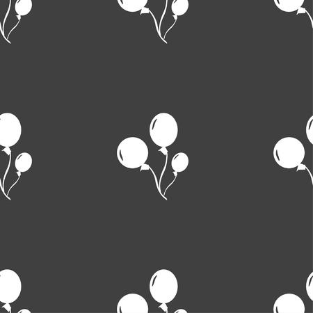 aerostatics: Balloons icon sign. Seamless pattern on a gray background. Vector illustration Illustration