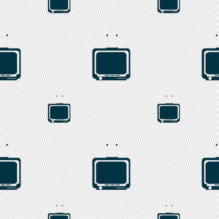 tvset: TV icon sign. Seamless pattern with geometric texture. Vector illustration Illustration