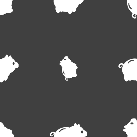 signo de pesos: Piggy bank icon sign. Seamless pattern on a gray background. Vector illustration