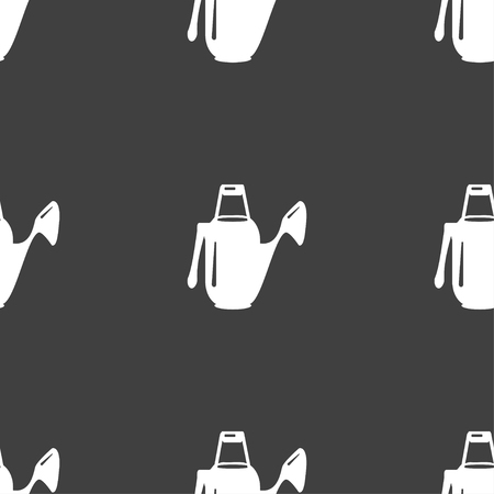 seeding: Watering can icon sign. Seamless pattern on a gray background. Vector illustration