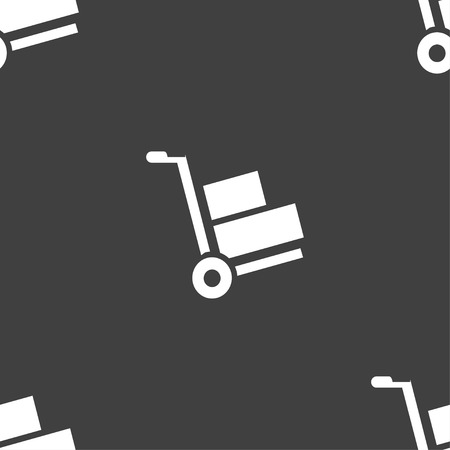 work crate: Loader icon sign. Seamless pattern on a gray background. Vector illustration Illustration