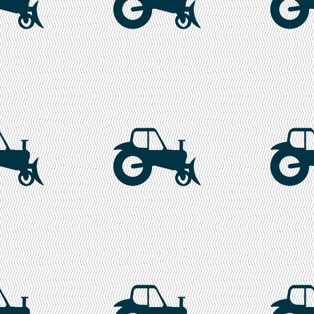 agronomy: Tractor icon sign. Seamless pattern with geometric texture. Vector illustration