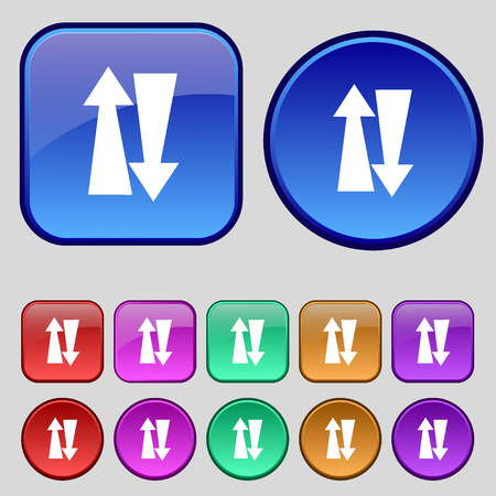 two way traffic: Two way traffic, icon sign. A set of twelve vintage buttons for your design. Vector illustration