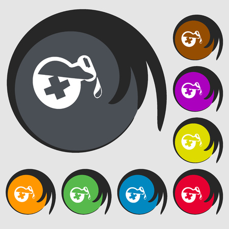 antidote: life healing potion decanter bottle sign icon. Symbols on eight colored buttons. Vector illustration