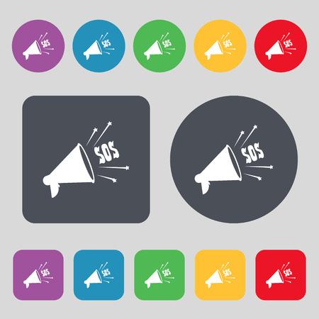 salvation: sos web speaker icon sign. A set of 12 colored buttons. Flat design. Vector illustration Illustration