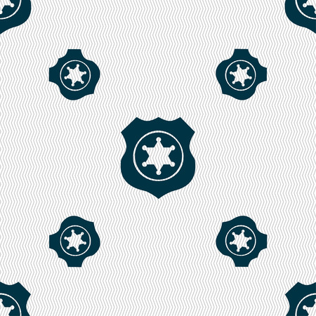deputy: Sheriff, star icon sign. Seamless pattern with geometric texture. Vector illustration