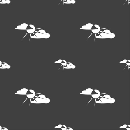 behind: sun behind cloud icon sign. Seamless pattern on a gray background. Vector illustration