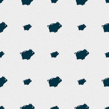 dolar: Piggy signo icono de banco. Patrón sin fisuras con textura geométrica. ilustración vectorial