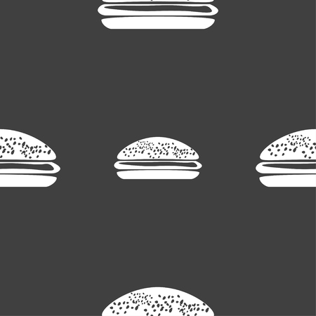 lunchroom: Burger, hamburger icon sign. Seamless pattern on a gray background. Vector illustration