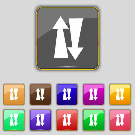 two way: Two way traffic, icon sign. Set with eleven colored buttons for your site. Vector illustration