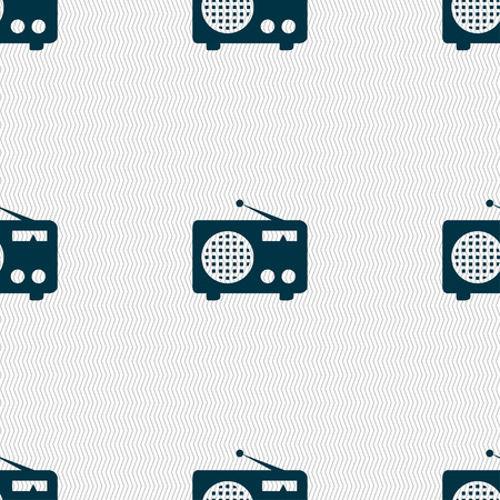 fm: Retro radio icon sign. Seamless pattern with geometric texture. Vector illustration