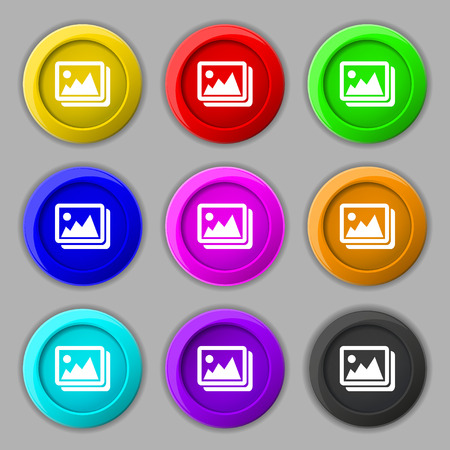 photograph: images, jpeg, photograph icon sign. symbol on nine round colourful buttons. Vector illustration Illustration
