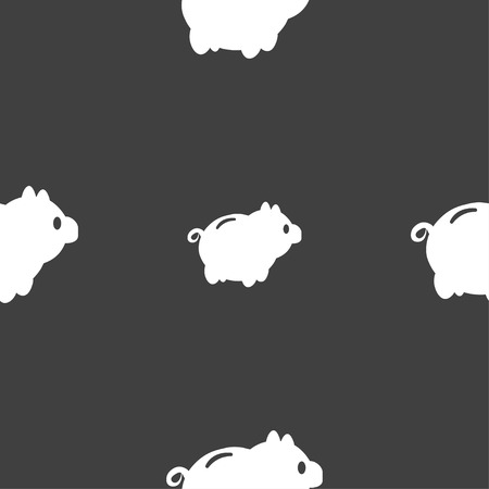 dolar: Piggy bank icon sign. Seamless pattern on a gray background. Vector illustration