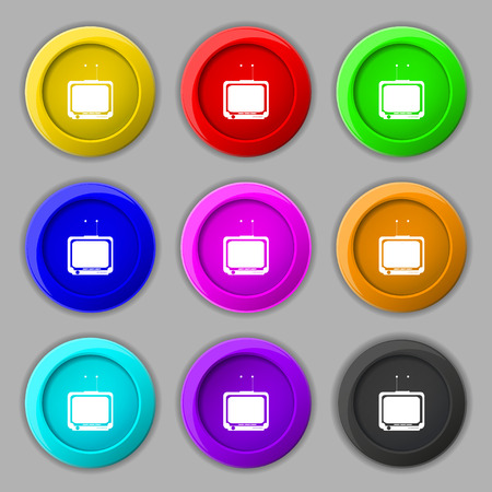 tvset: TV icon sign. symbol on nine round colourful buttons. Vector illustration