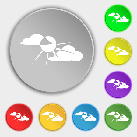 behind: sun behind cloud icon sign. Symbol on eight flat buttons. Vector illustration