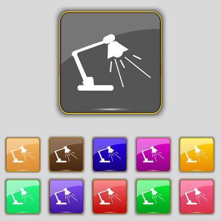 lamplight: Reading-lamp icon sign. Set with eleven colored buttons for your site. Vector illustration