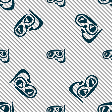 Diving icon sign. Seamless pattern with geometric texture. Vector illustration