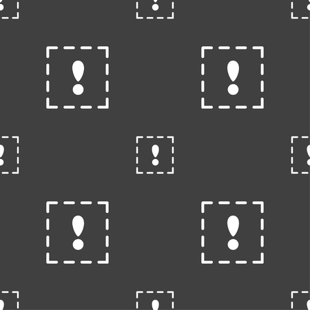 exclamation point: The exclamation point in a square icon sign. Seamless pattern on a gray background. Vector illustration