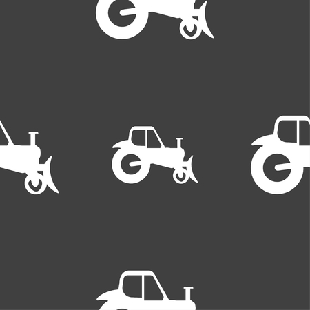 agronomy: Tractor icon sign. Seamless pattern on a gray background. Vector illustration