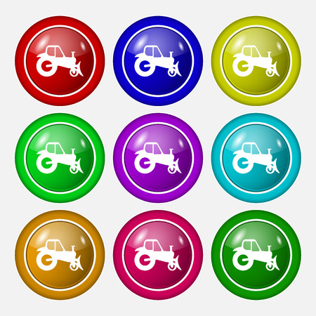 agronomy: Tractor icon sign. symbol on nine round colourful buttons. Vector illustration