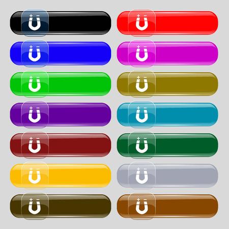 magnetismo: im�n de herradura, el magnetismo, magnetizar, atracci�n icono de la muestra. Conjunto de catorce botones multicolores de vidrio con el lugar de texto. ilustraci�n vectorial