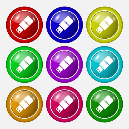 sumbol: USB flash icon sign. symbol on nine round colourful buttons. Vector illustration Illustration
