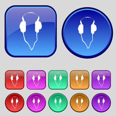 ear phones: headphones icon sign. A set of twelve vintage buttons for your design. Vector illustration