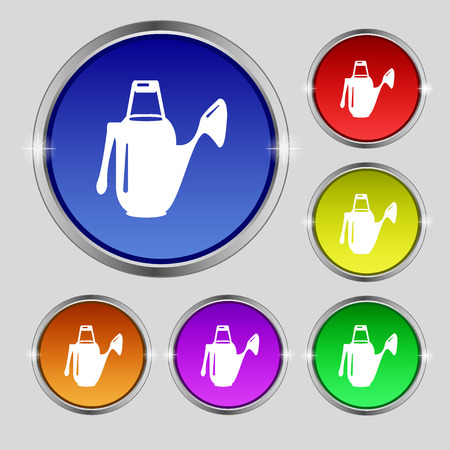 seeding: Watering can icon sign. Round symbol on bright colourful buttons. Vector illustration