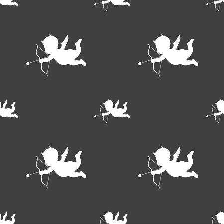 bowstring: Cupid icon sign. Seamless pattern on a gray background. Vector illustration