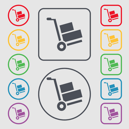 warehousing: Loader icon sign. symbol on the Round and square buttons with frame. Vector illustration