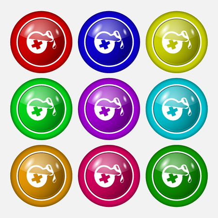 decanter: life healing potion decanter bottle icon sign. symbol on nine round colourful buttons. Vector illustration