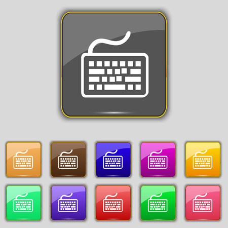 qwerty: Keyboard icon sign. Set with eleven colored buttons for your site. Vector illustration