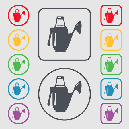 seeding: Watering can icon sign. symbol on the Round and square buttons with frame. Vector illustration