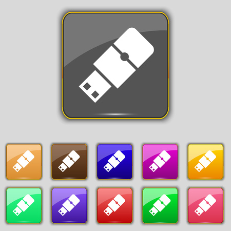sumbol: USB flash icon sign. Set with eleven colored buttons for your site. Vector illustration