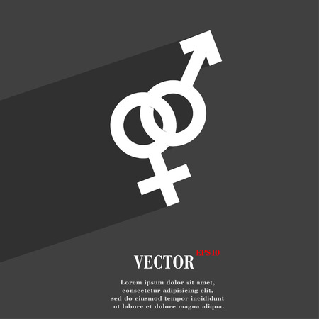 marital: Male and female symbol Flat modern web design with long shadow and space for your text. Vector illustration
