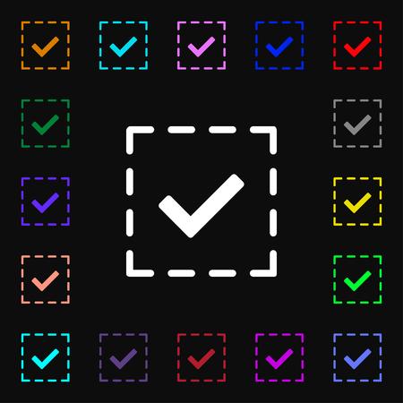 tik: Check mark, tik icon sign. Lots of colorful symbols for your design. Vector illustration Illustration