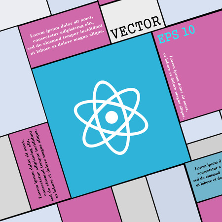 atomic nucleus: Atom, physics icon sign. Modern flat style for your design. Vector illustration