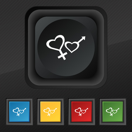 marital: Male and female icon symbol. Set of five colorful, stylish buttons on black texture for your design. Vector illustration