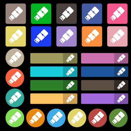 pocket pc: USB flash icon sign. Set from twenty seven multicolored flat buttons. Vector illustration