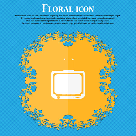 tvset: TV icon. Floral flat design on a blue abstract background with place for your text. Vector illustration