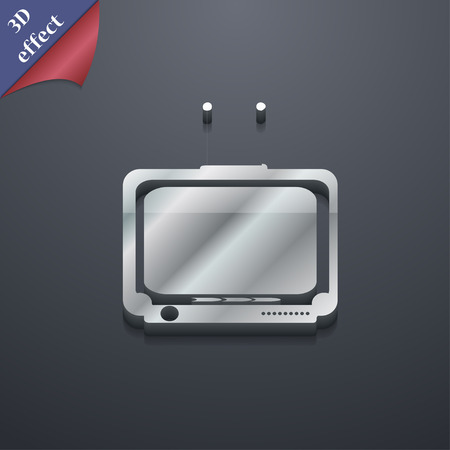tvset: TV icon symbol. 3D style. Trendy, modern design with space for your text Vector illustration