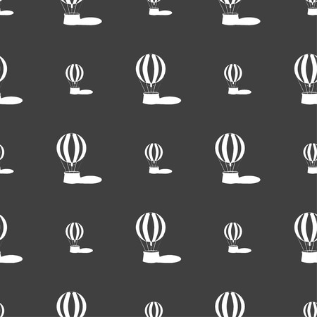 ballooning: Hot air balloon icon sign. Seamless pattern on a gray background. Vector illustration Illustration