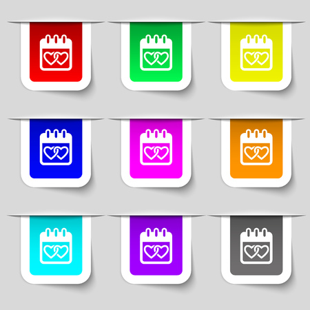 february 14: Calendar, heart, Valentines day, February 14, Love icon sign. Set of multicolored modern labels for your design. Vector illustration