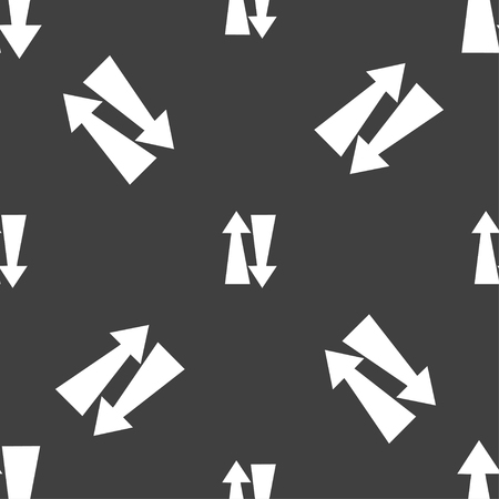 two way traffic: Two way traffic, icon sign. Seamless pattern on a gray background. Vector illustration