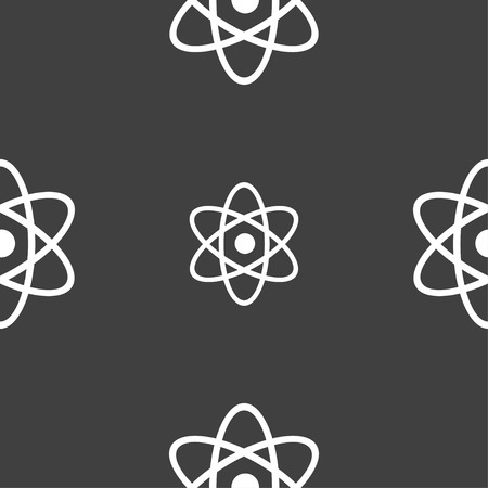laboratory label: Atom, physics icon sign. Seamless pattern on a gray background. Vector illustration