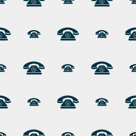 alerts: Retro telephone icon sign. Seamless pattern with geometric texture. Vector illustration Illustration