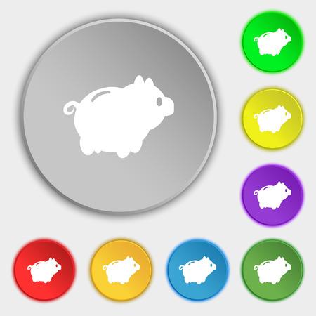 signo de pesos: Piggy signo icono de banco. Símbolo en ocho botones planos. ilustración vectorial